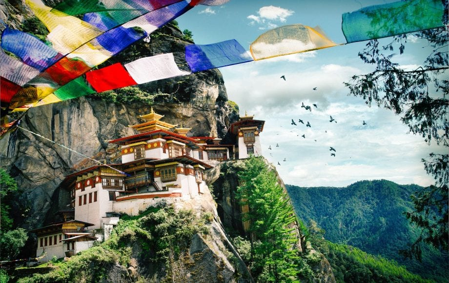 Beautiful architecture in the middle of mountain in Bhutan