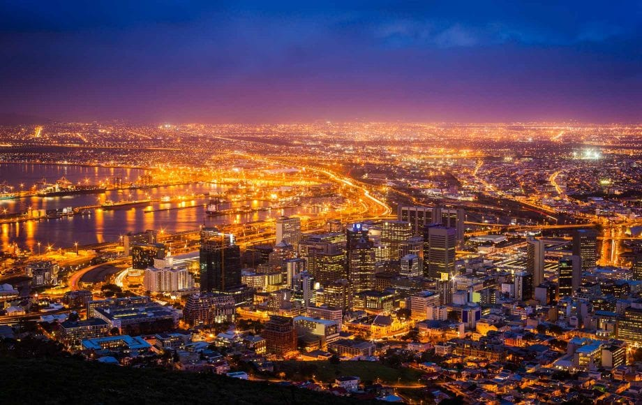 Glamorous night view of Cape Town