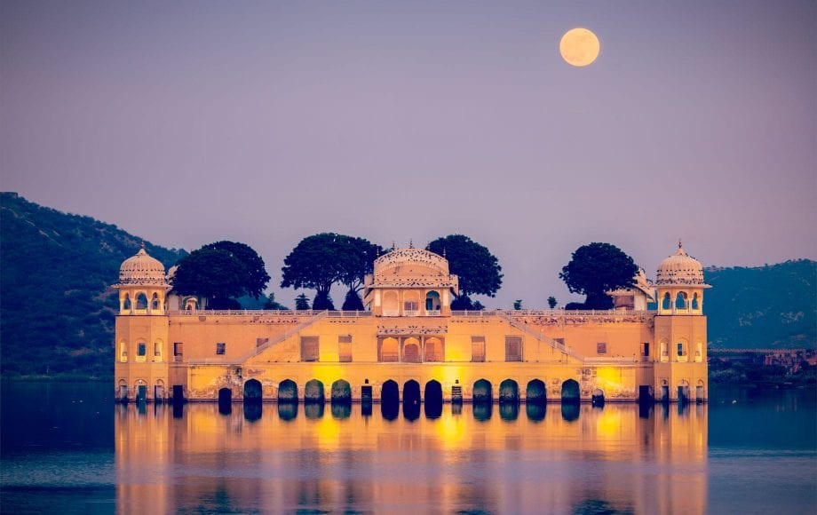 Jaipur Palace on a Lake with Bright Moon