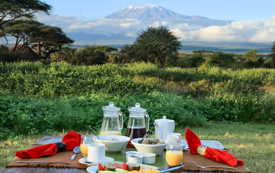 Relaxing at climbing mount kilimanjaro