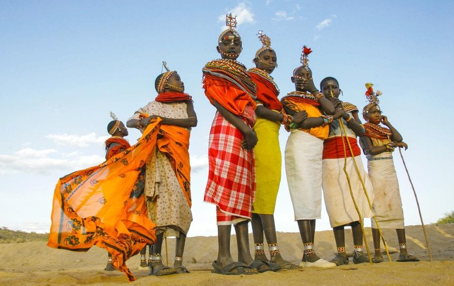 Tribe ladies with gorgeous clothing at Samburu National Reserve
