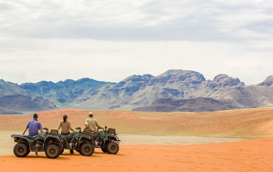 Traveling with scooters across Sossusvlei Namib Desert