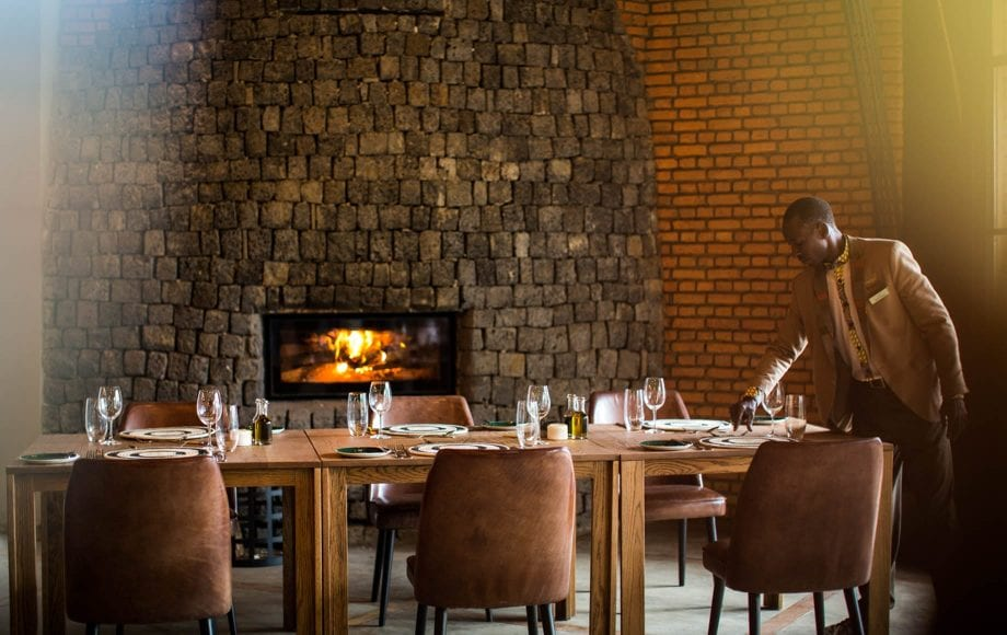 Luxurious dining at Bisate Lodge in Africa